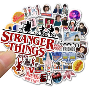 50pcs Pack Stranger Things Stickers Waterproof PVC Skateboard Suitcase Snowboard Motorcycle Guitar Sticker Water Bottle Kids Toy