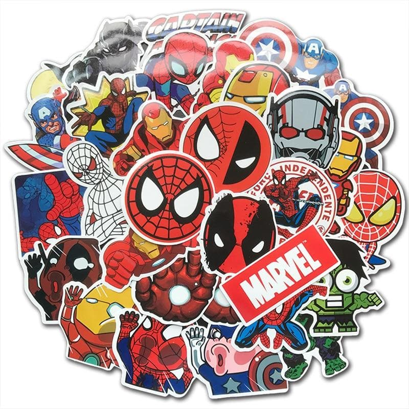 50Pcs/Lot Cute Super Hero Stickers MARVEL Waterproof PVC Sticker Pack For Kids Toy DIY Skateboard Luggage Laptop Fridge Decals