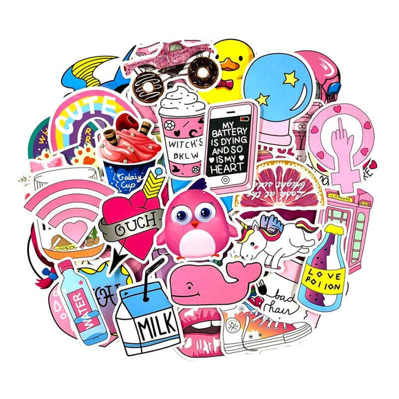 50 Pcs/Set Pink Girls Fun Decal Stickers Toys Luggage Stickers For Moto Car Cool Fashion Laptop PVC Waterproof Sticker For Girl