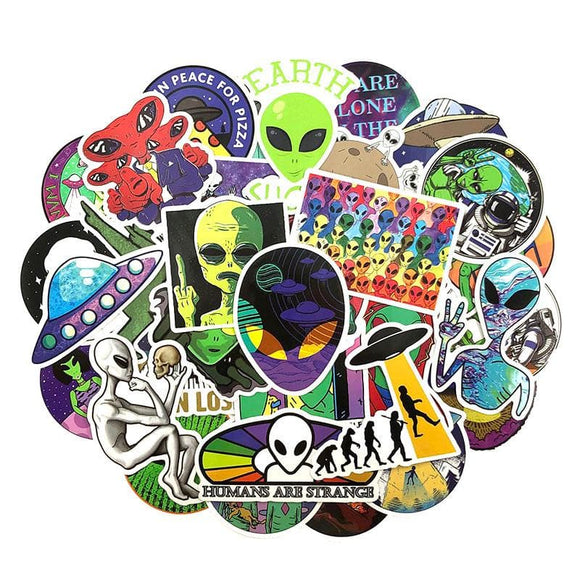 50Pcs/Pack Alien UFO  Graffiti Stickers Cartoon Stickers For Luggage Laptop Refrigerator Motorcycle Skateboard Pegatinas