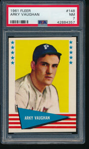 1961 Fleer Baseball Greats  148 Arky Vaughan HOF PSA 7 NM 14193