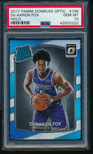 Load image into Gallery viewer, 2017-18 Panini Donruss Optic HOLO 196 De'AARON FOX RC PSA 10 GEM MINT 14208