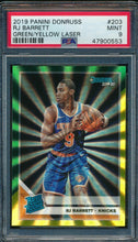 Load image into Gallery viewer, 2019-20 Donruss  203 RJ Barrett Green/Yellow Laser RC PSA 9 MINT 14897
