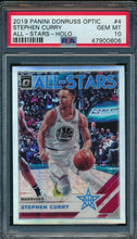 Load image into Gallery viewer, 2019-20 Donruss Optic All Stars 4 Stephen Curry Holo PSA 10 GEM MINT 14911