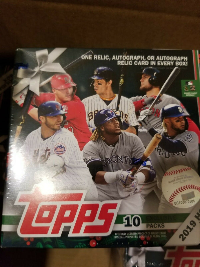 2019 Topps baseball Holiday Mega Box lot x6 relic/auto per box