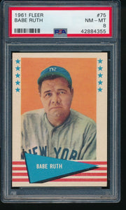 1961 Fleer Baseball Greats  75 Babe Ruth HOF PSA 8 NM-MT 14191