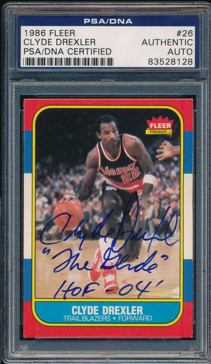 1986-87 Fleer Autograph 26 Clyde Drexler Auto RC PSA/DNA Authentic 14922