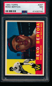 Scan of 1960 Topps 297 Reno Bertoia PSA 7 NM