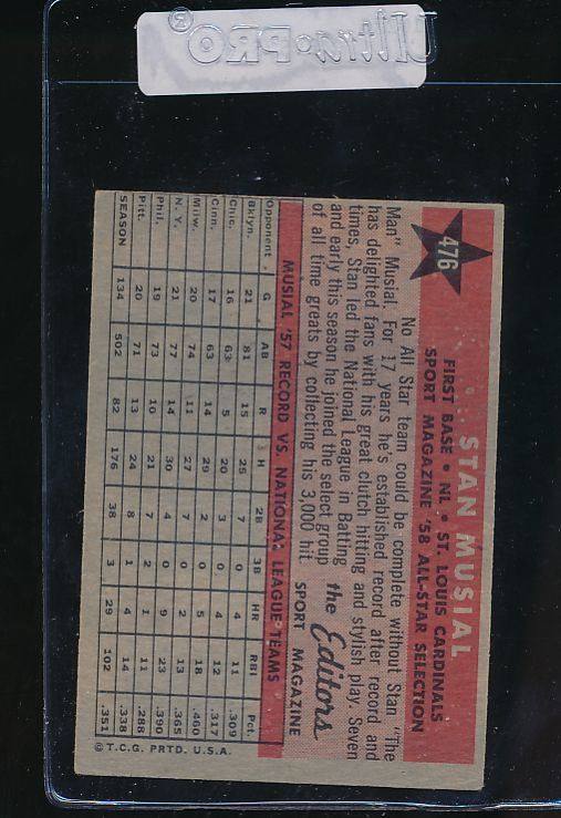 1958 Topps  476 Stan Musial  EX 10276