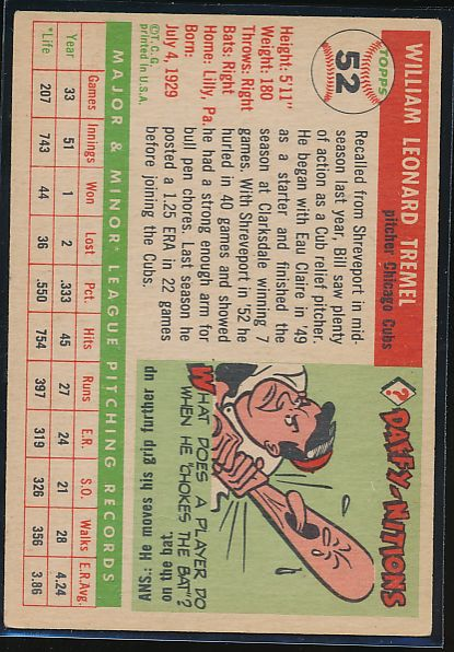 1955 Topps  52 Bill Tremel RC EX 10464