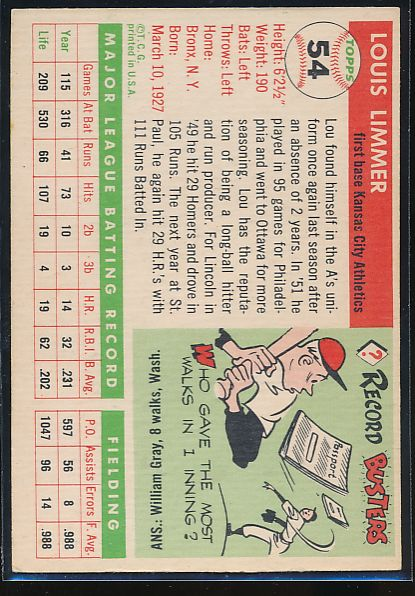 1955 Topps  54 Lou Limmer  EX-MT 10466