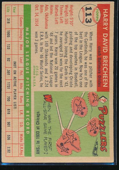 1955 Topps  113 Harry Brecheen CO VG 10492