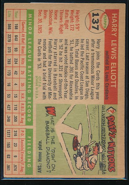 1955 Topps  137 Harry Elliott RC VG-EX 10503