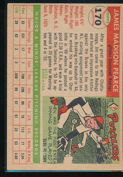 1955 Topps  170 Jim Pearce DP, RC VG 10513