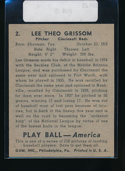 1939 Play Ball  2 Lee Grissom  G 10524