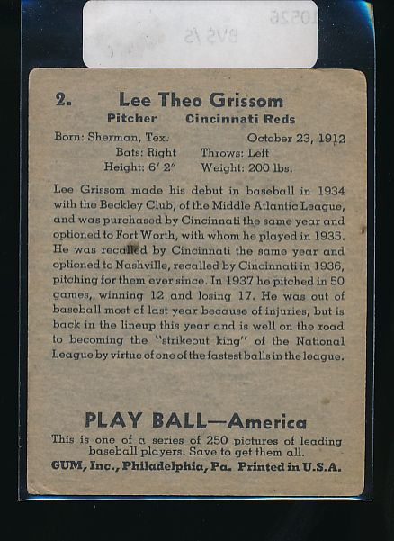 1939 Play Ball  2 Lee Grissom  VG 10526