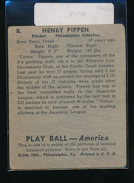 1939 Play Ball  8 Henry Pippen  G 10540