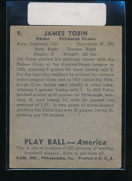 1939 Play Ball  9 James Tobin  VG-EX 10541