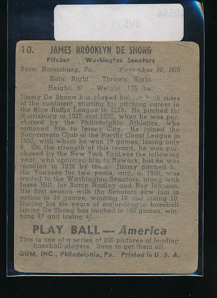 1939 Play Ball  10 James DeShong  G 10546