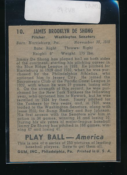 1939 Play Ball  10 James DeShong  Trimmed 10547