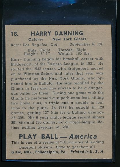 1939 Play Ball  18 Harry Danning  Trimmed 10566