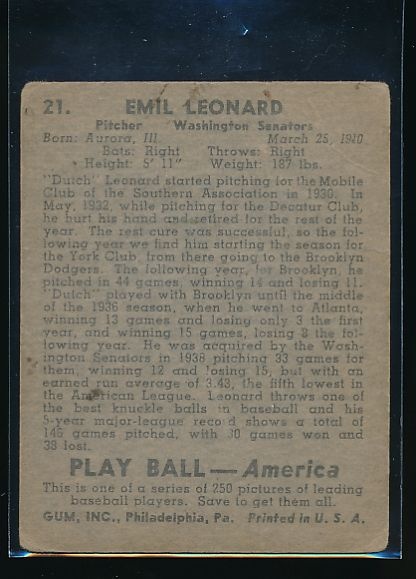 1939 Play Ball  21 Dutch Leonard  Trimmed 10574