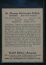 Load image into Gallery viewer, 1939 Play Ball  25 George Selkirk  VG-EX 10586
