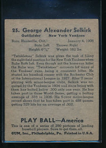 1939 Play Ball  25 George Selkirk  VG-EX 10586
