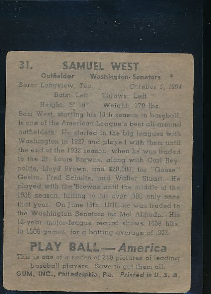 1939 Play Ball  31 Sam West  G 10600