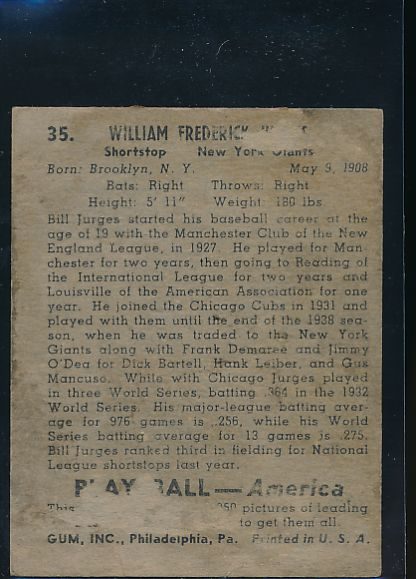 1939 Play Ball  35 Bill Jurges  P 10609