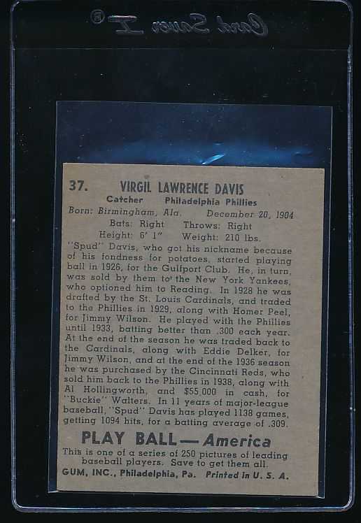 1939 Play Ball  37 Virgil Davis  EX-MT (OC) 10617