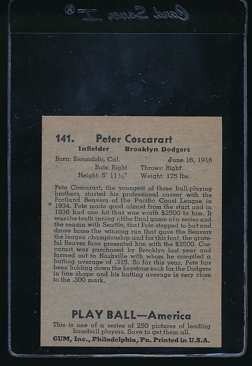 1939 Play Ball  141 Pete Coscarart  Trimmed 10638