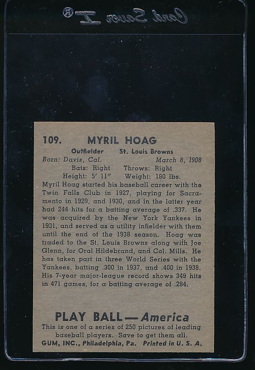 1939 Play Ball  109 Myril Hoag  Trimmed 10672