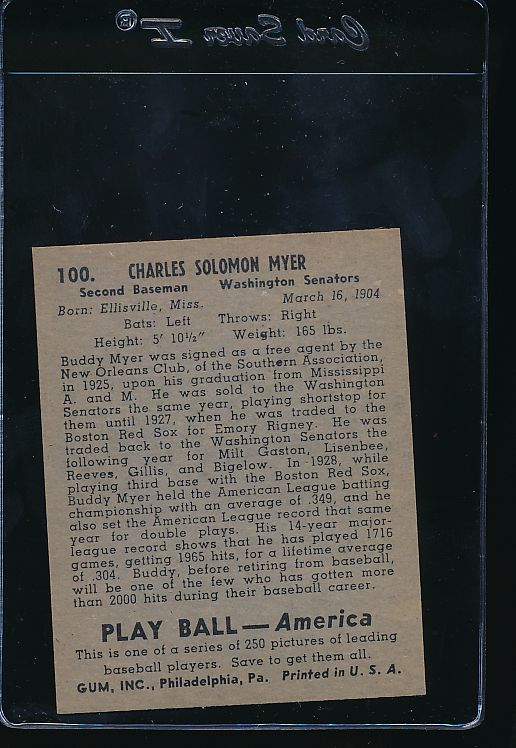 1939 Play Ball  100 Buddy Myer  Trimmed 10691