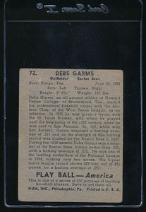 1939 Play Ball  72 Debs Garms  G/VG 10752