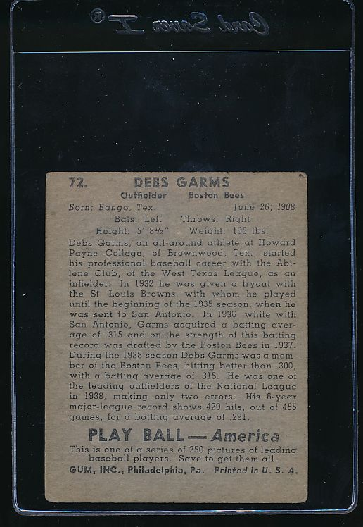 1939 Play Ball  72 Debs Garms  VG 10753