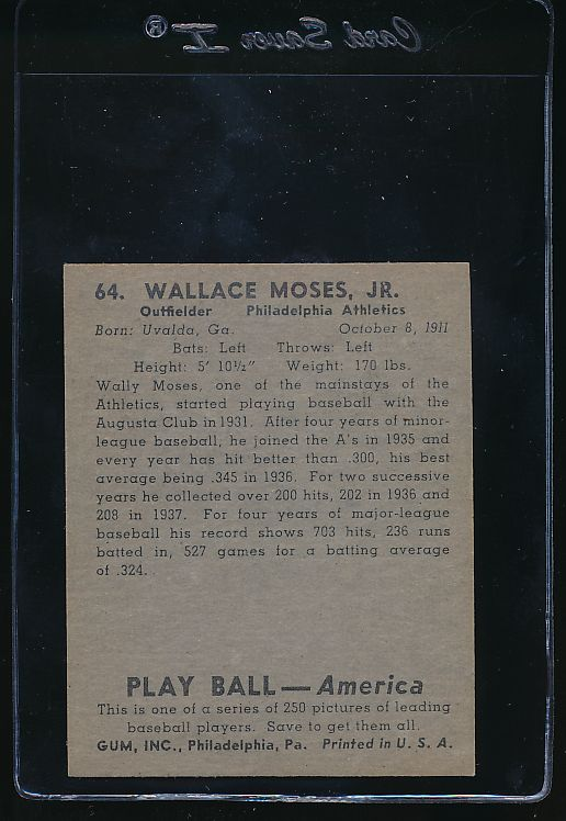 1939 Play Ball  64 Wally Moses  EX-MT 10765