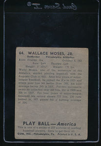 1939 Play Ball  64 Wally Moses  G 10766