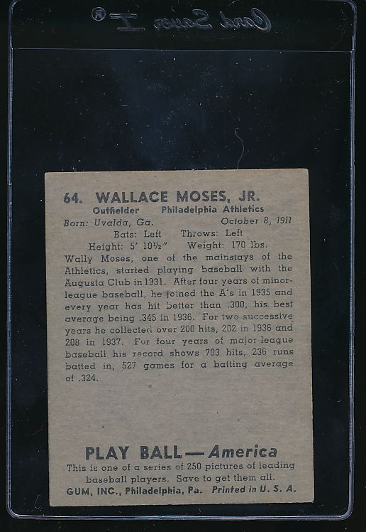 1939 Play Ball  64 Wally Moses  G/VG 10767