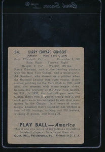 1939 Play Ball  54 Harry Gumpert  VG 10785