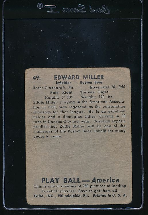 1939 Play Ball  49 Eddie Miller  F 10792