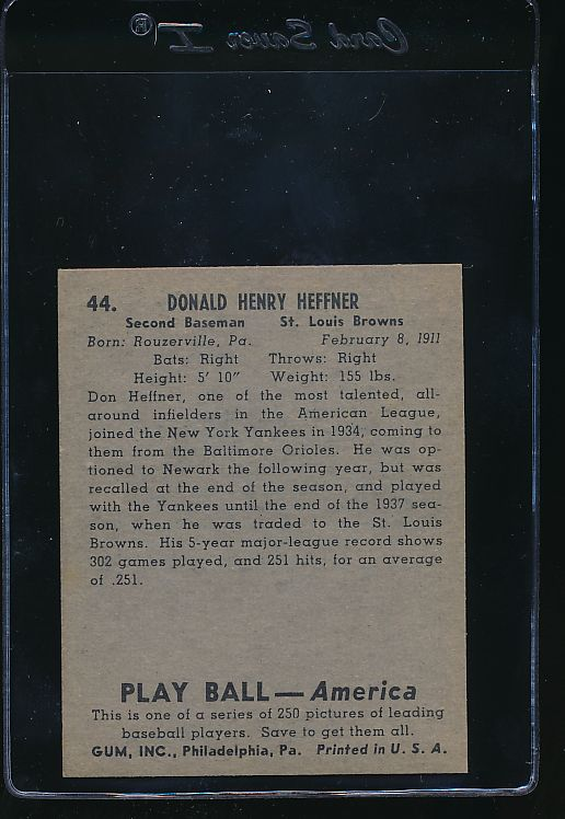 1939 Play Ball  44 Don Heffner  Trimmed 10807