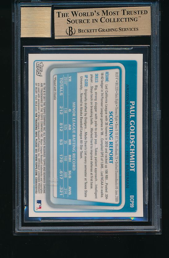 2011 Bowman Chrome Prospects BCP99 Paul Goldschmidt RC, Auto BGS 9.5/10 GEM MINT 10851