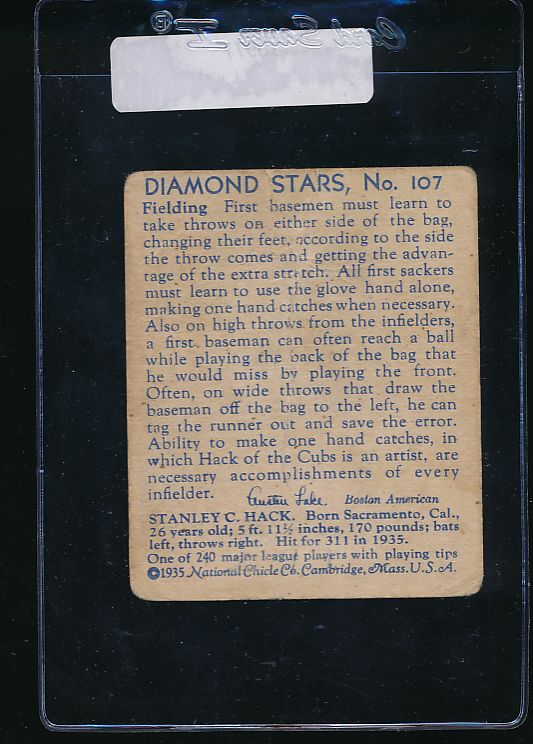 1935 Diamond Stars  107 Stan Hack High # G 10977