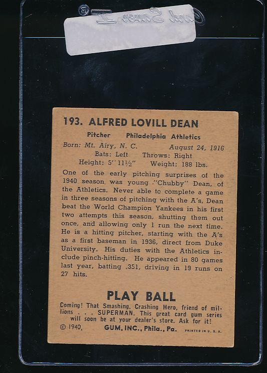1940 Play Ball  193 Chubby Dean RC   VG-EX (ST) 10979