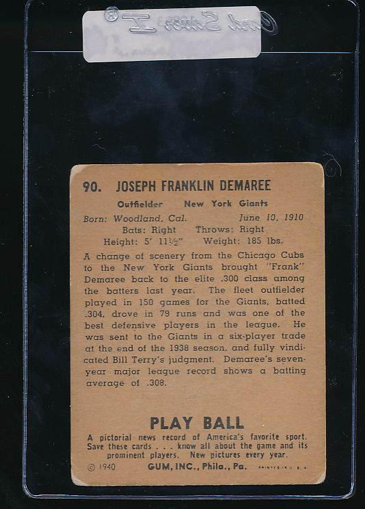 1940 Play Ball  90 Frank Demaree   VG 10993