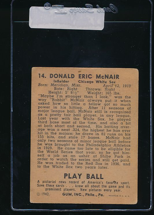 1940 Play Ball  14 Rabbit McNair   VG (ST) 11000