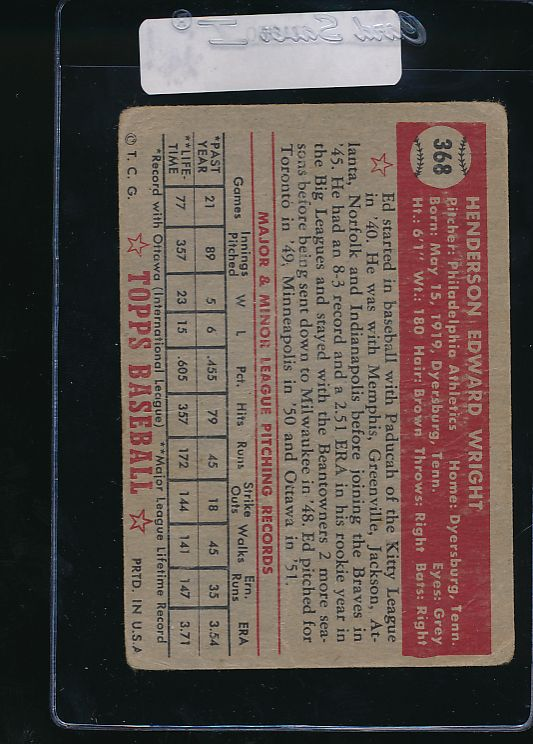 1952 Topps  368 Ed Wright RC High # F 11060