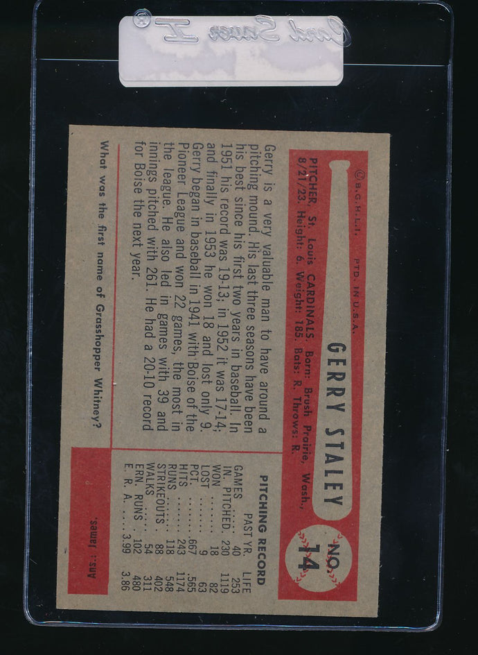 1954 Bowman  14  Gerry Staley  EX-MT 11068