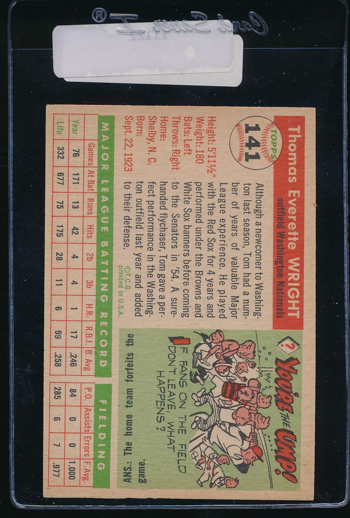 1955 Topps  141 Tom Wright  EX-MT 11122